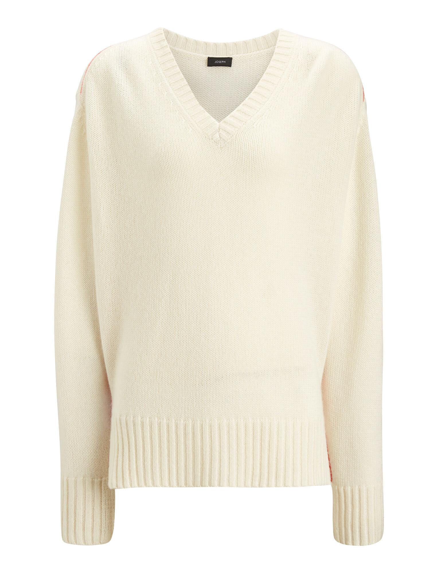 22af1e6acb05 V Neck Open Cashmere Knit in White