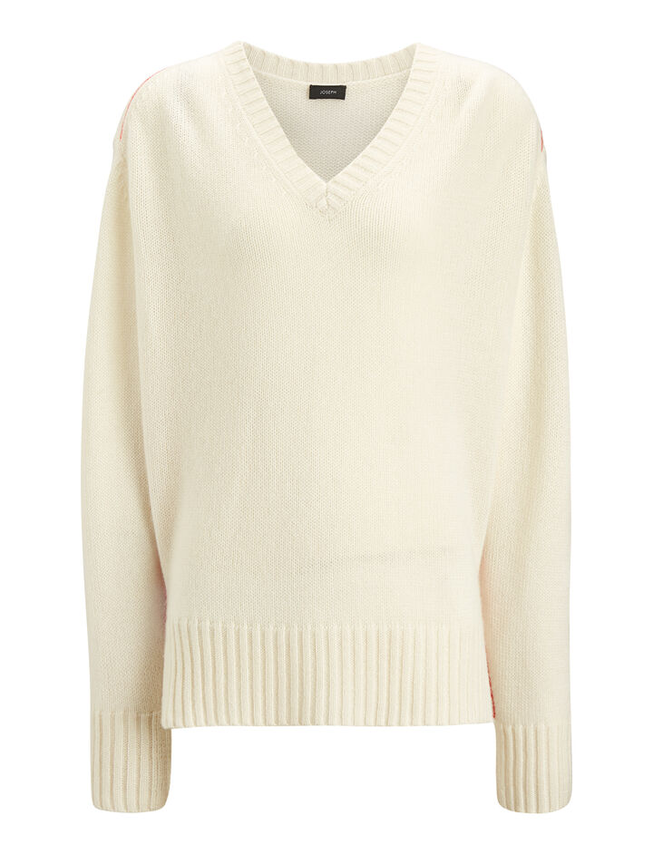 Joseph, V Neck Open Cashmere Knit, in ECRU