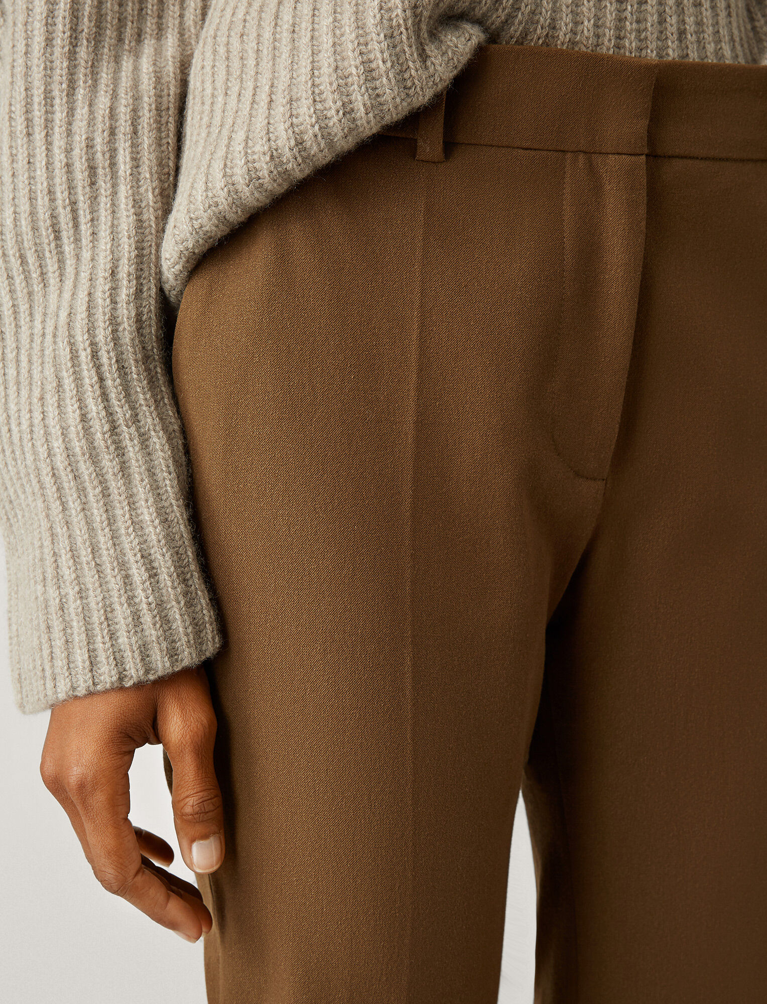 Joseph, Coleman Gabardine Stretch Trousers, in KHAKI