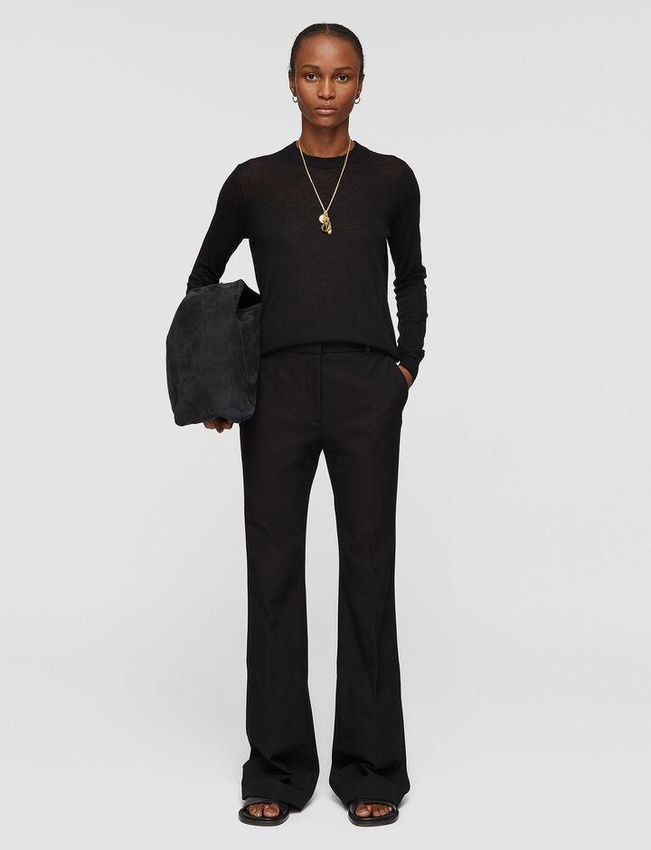 Joseph, Gabardine Stretch Tafira Trousers, in BLACK