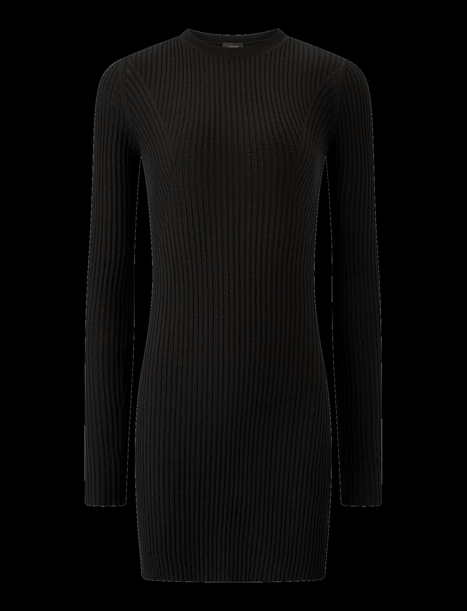 Joseph, Tunique légère en laine mérinos côtelée, in BLACK