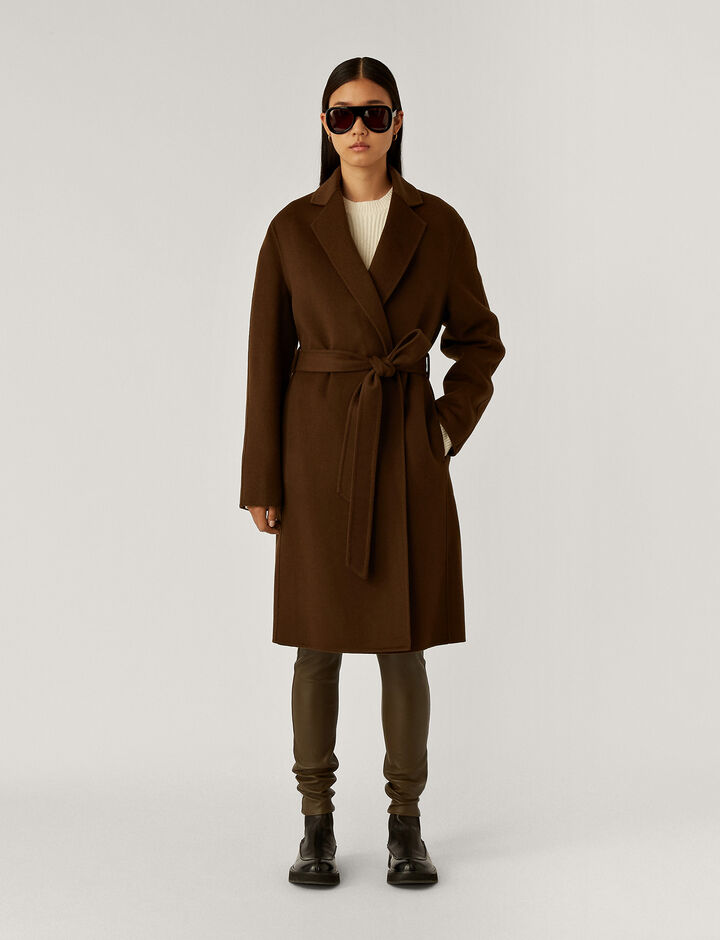 Joseph, Cenda Long Dbl Face Cashmere Coats, in Moss