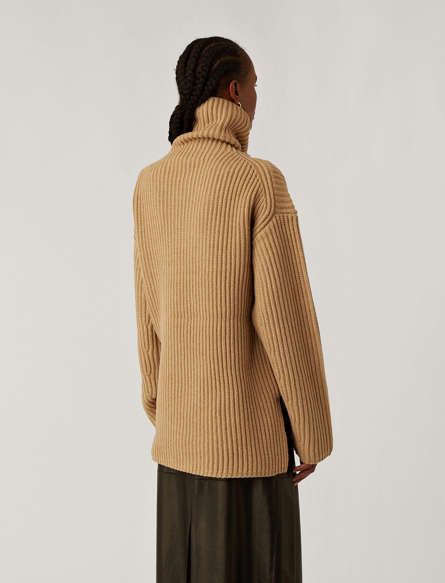 Joseph, High Neck Chunky Knit, in Light Cognac