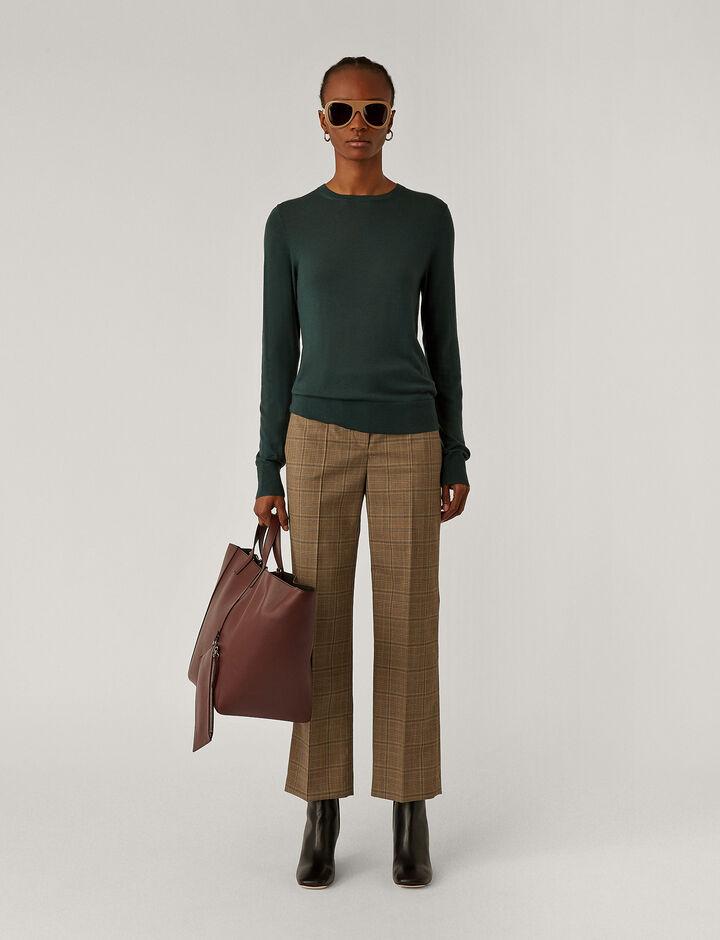 Joseph, Rd Nk Ls Fine Merinos Knitwear, in Petrol