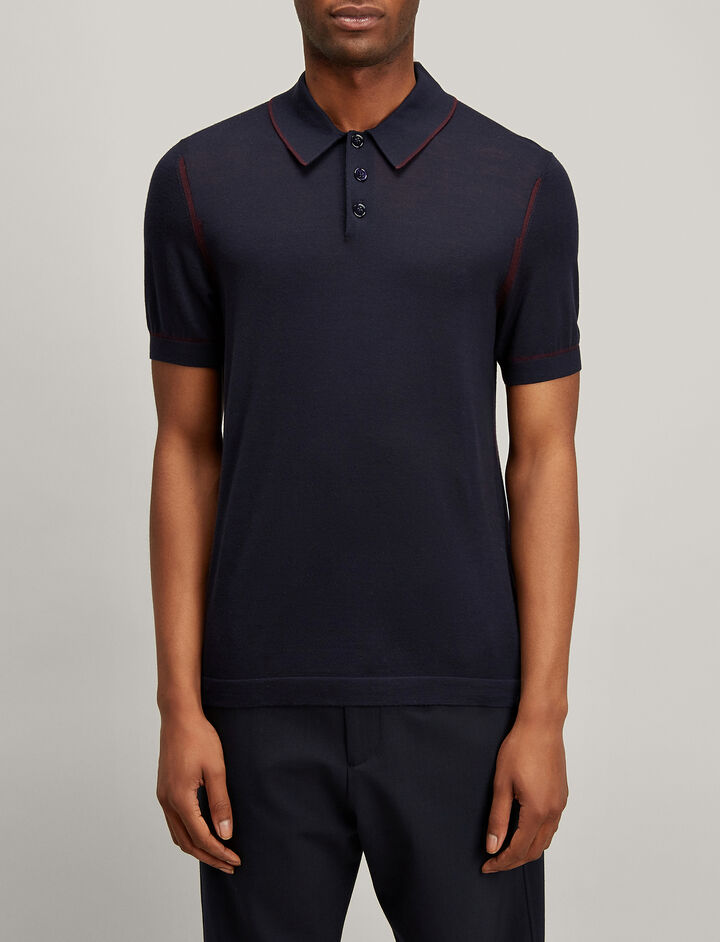 Joseph, Light Merinos Polo, in NAVY