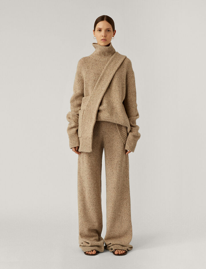 Joseph, High Nk Ls Tweed Knit Knitwear, in Blush