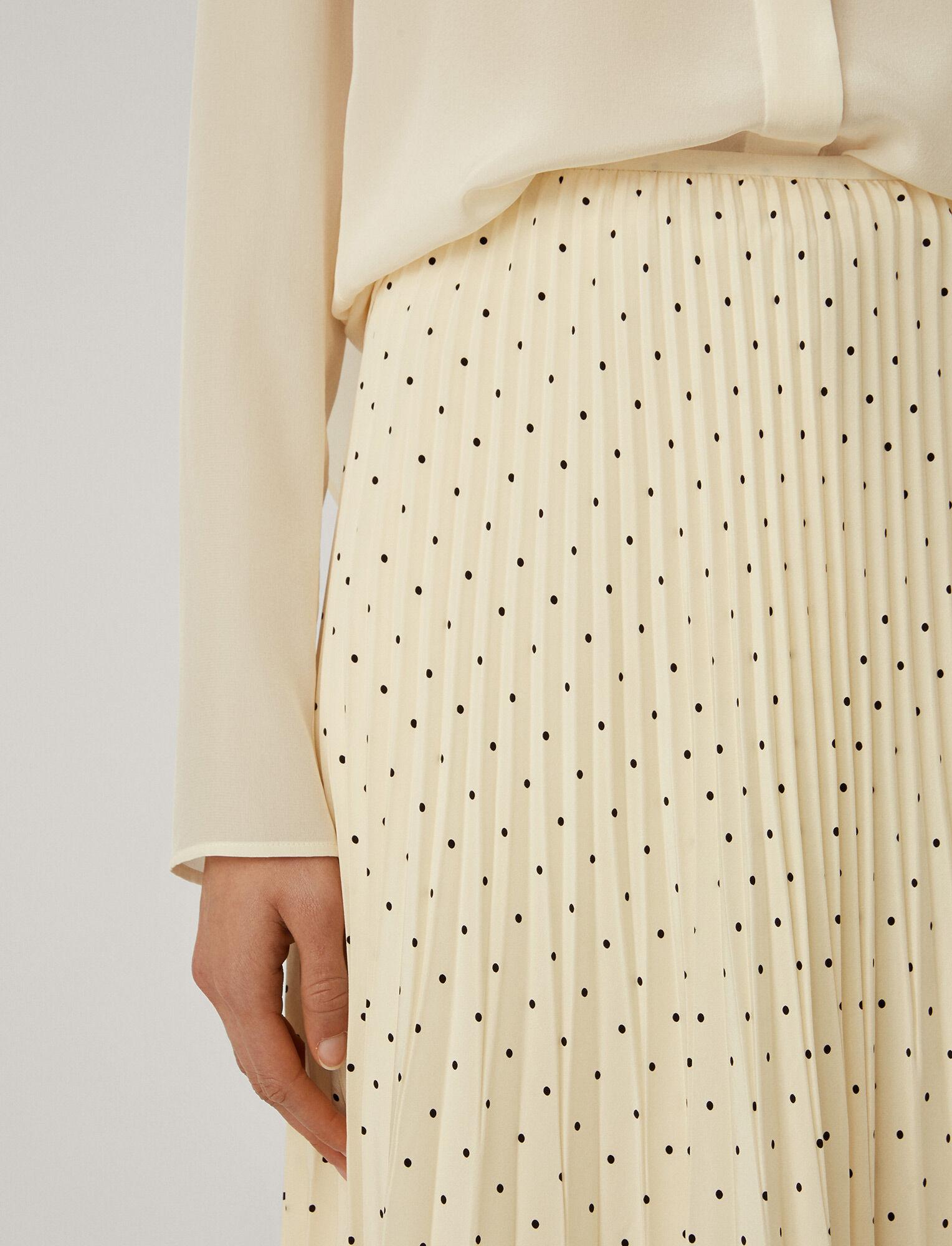 Joseph, Silk Polkadot Sorence Skirt, in IVORY/BLACK