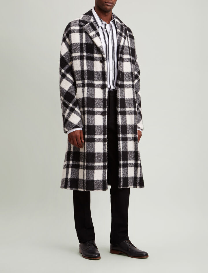Joseph, Albert Blown Blanket Check Coat, in BLACK