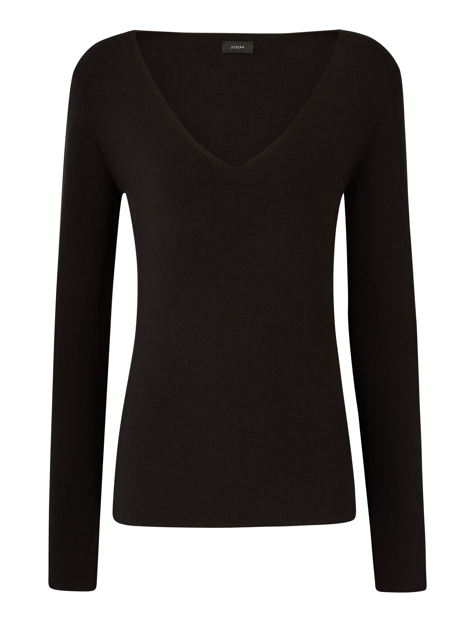 Joseph, V Neck Silk Stretch Knit, in BLACK