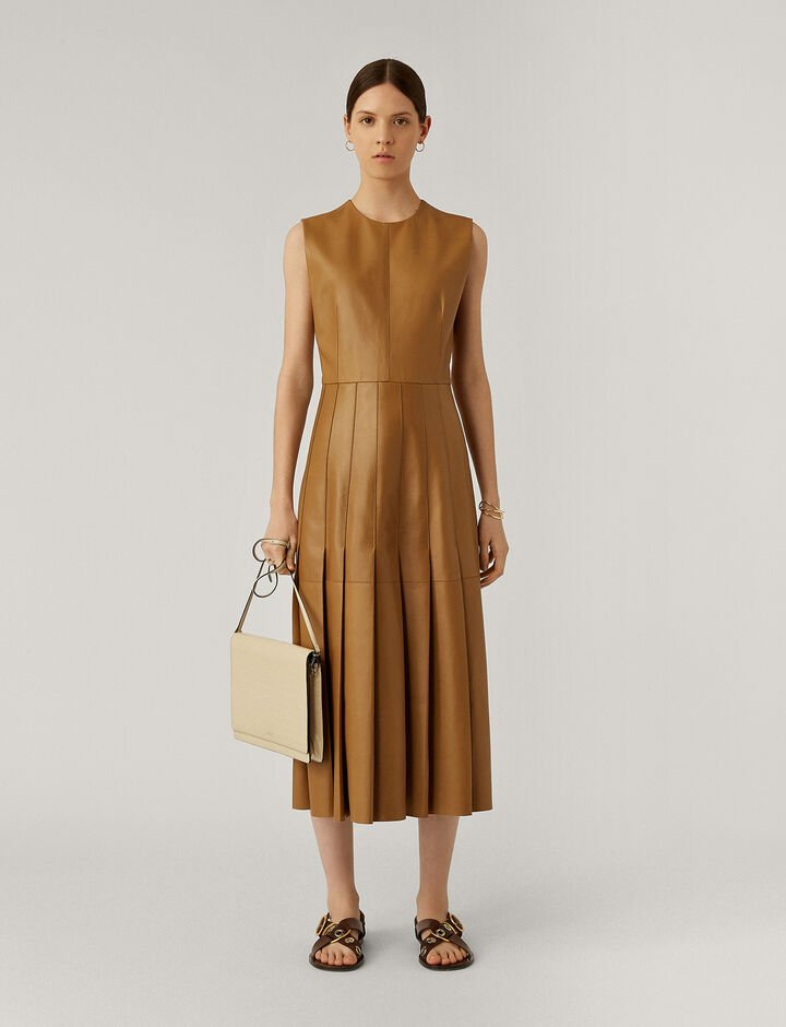 Joseph, Demry Nappa Leather Dresses, in Saddle
