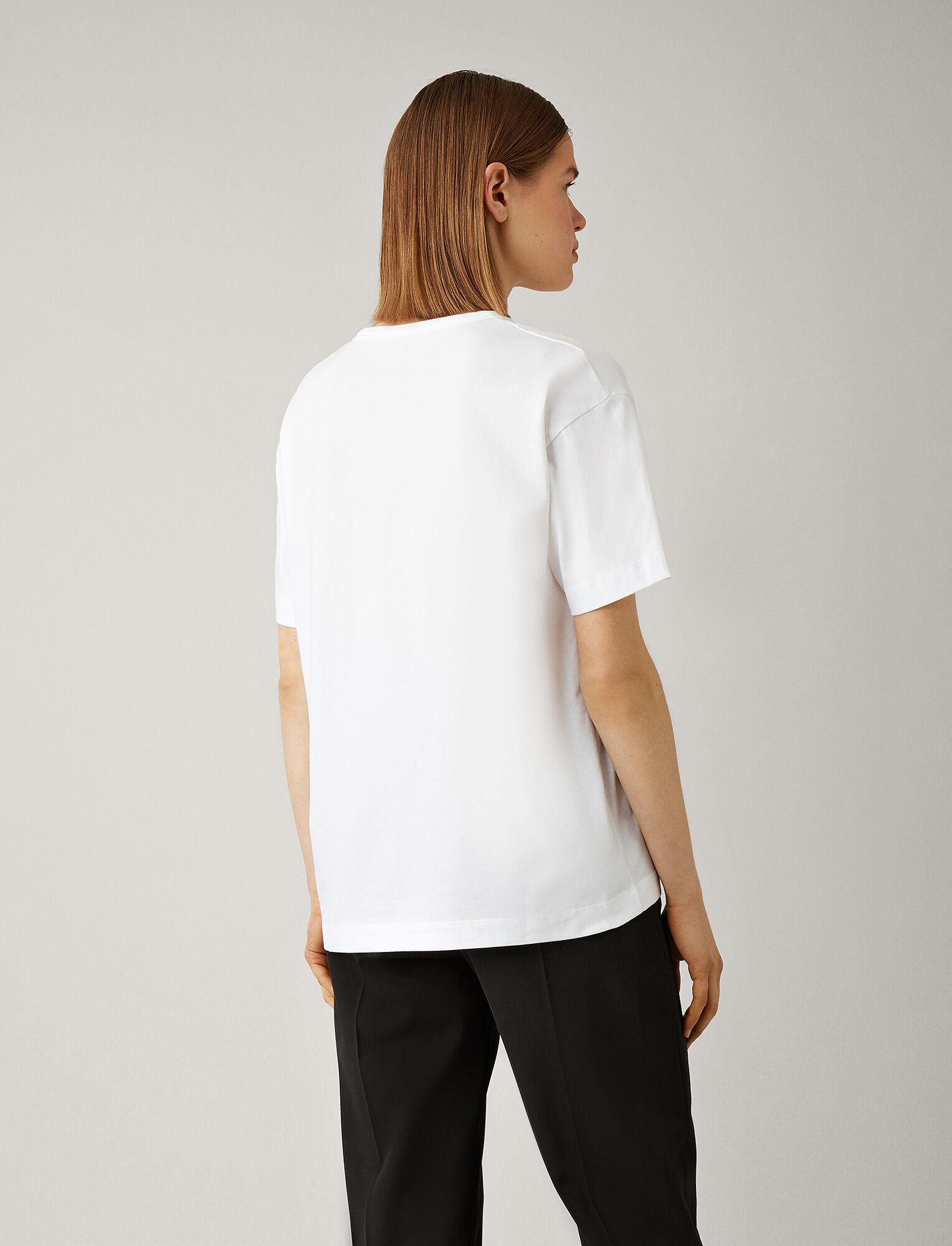 Joseph, Tee-shirt Perfect à col V en jersey, in WHITE