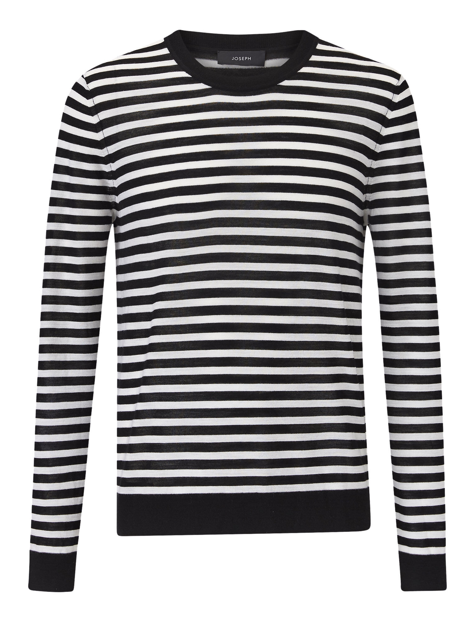 Joseph, Light Stripe Merinos Knit, in BLACK