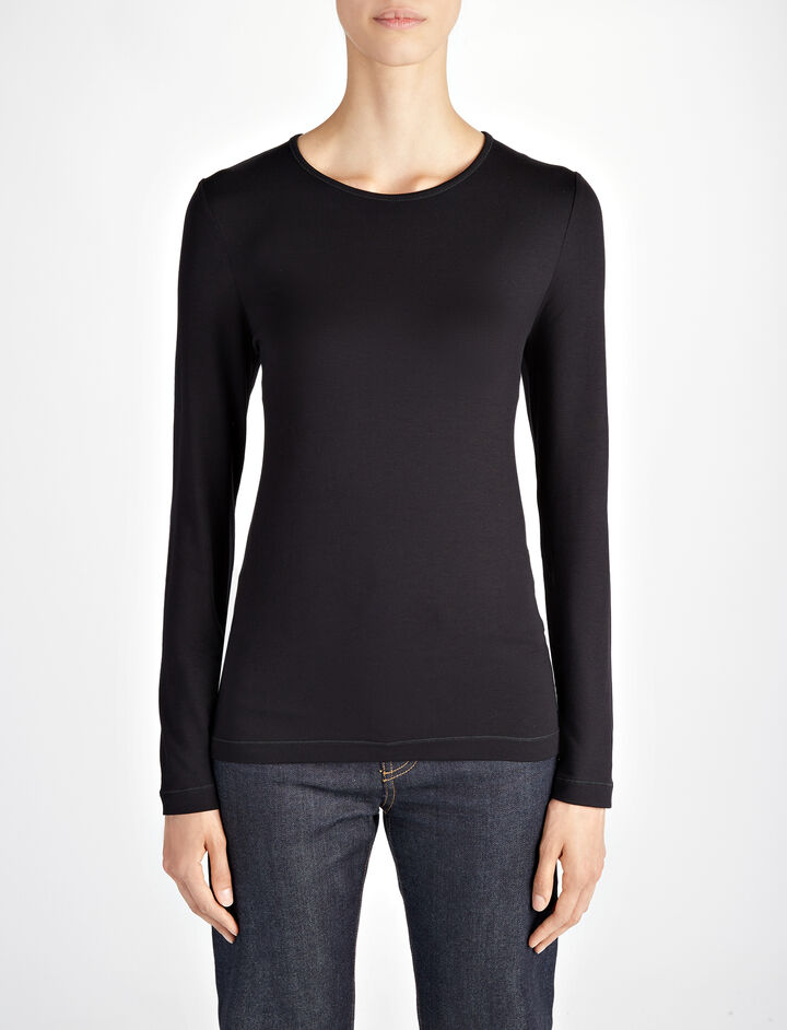 Joseph, Stretch Jersey Elbow Crew Neck Tee, in BLACK