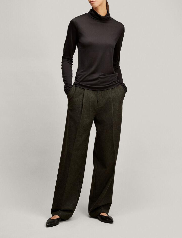Joseph, Roll Neck Silk Jersey, in BLACK