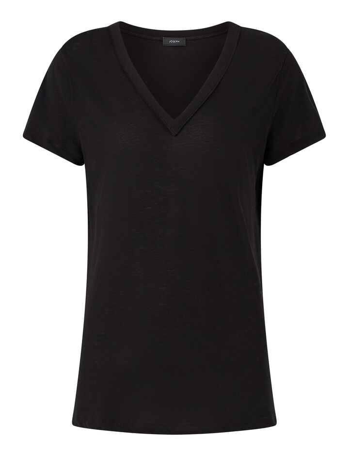 Joseph, V Nk Ss-Light Cotton Jersey, in BLACK