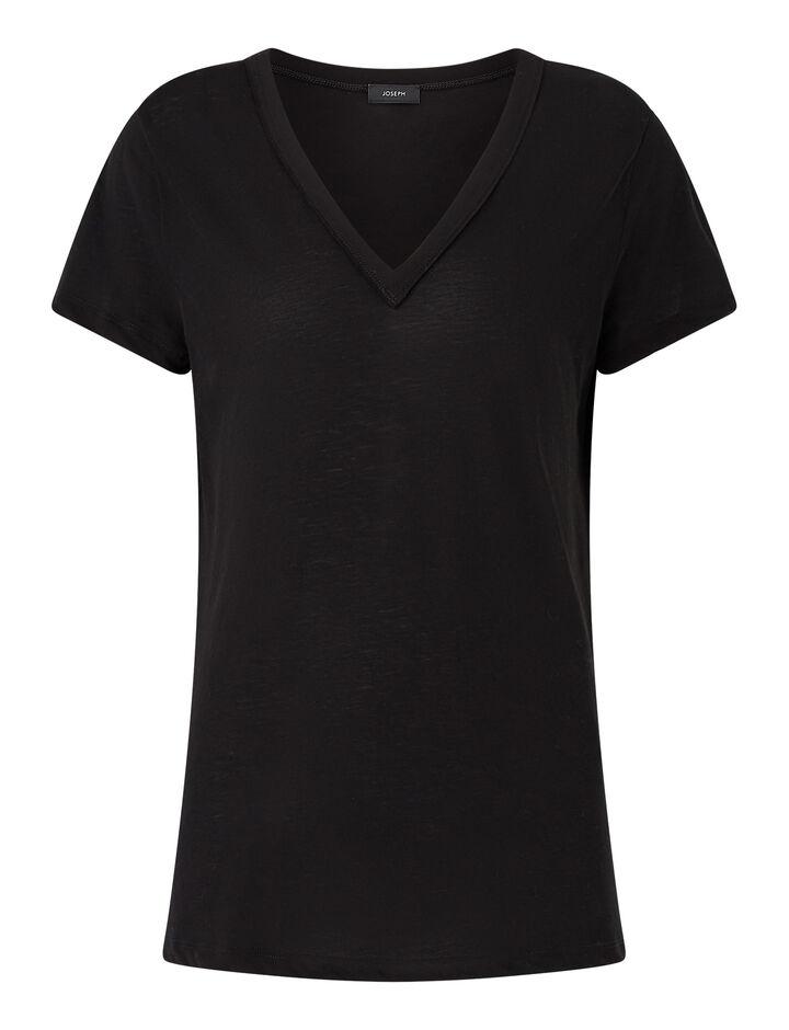 Joseph, V Nk Ss-Light Cotton Jersey, in BLACK