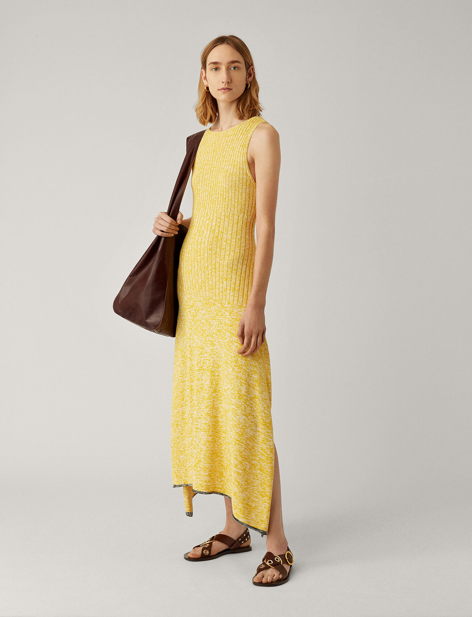 Joseph, Darla Cotton Viscose Rib Dress, in YELLOW