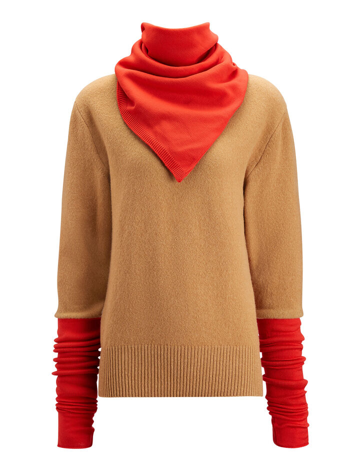 Joseph, Scarf Neck Sweater Double Knit, in CAMEL