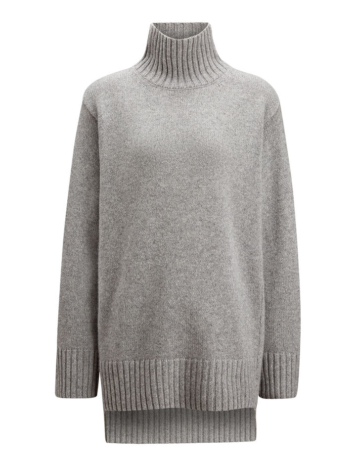 Joseph, Tunic Cashmere Luxe Knit, in PEBBLE