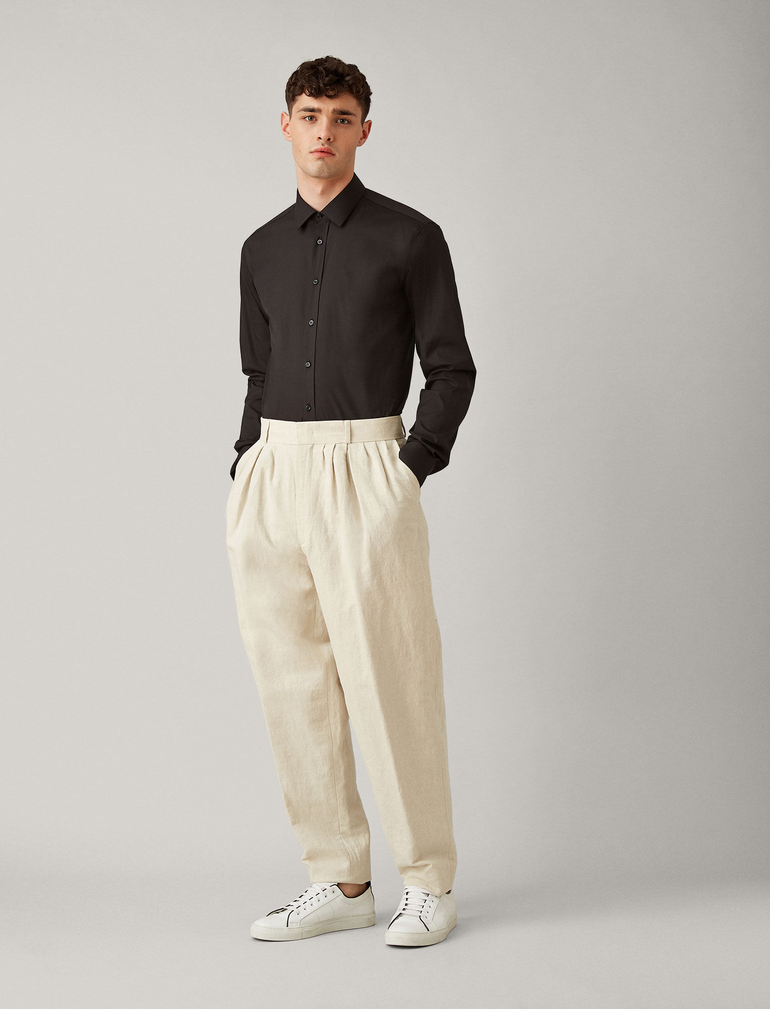 Joseph, Jim Poplin Stretch Shirt, in BLACK