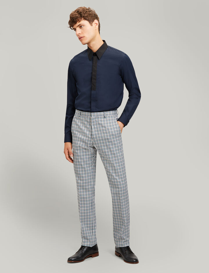 Joseph, Montecarlo Poplin + Ppln Stretch Shirt, in NAVY COMBO