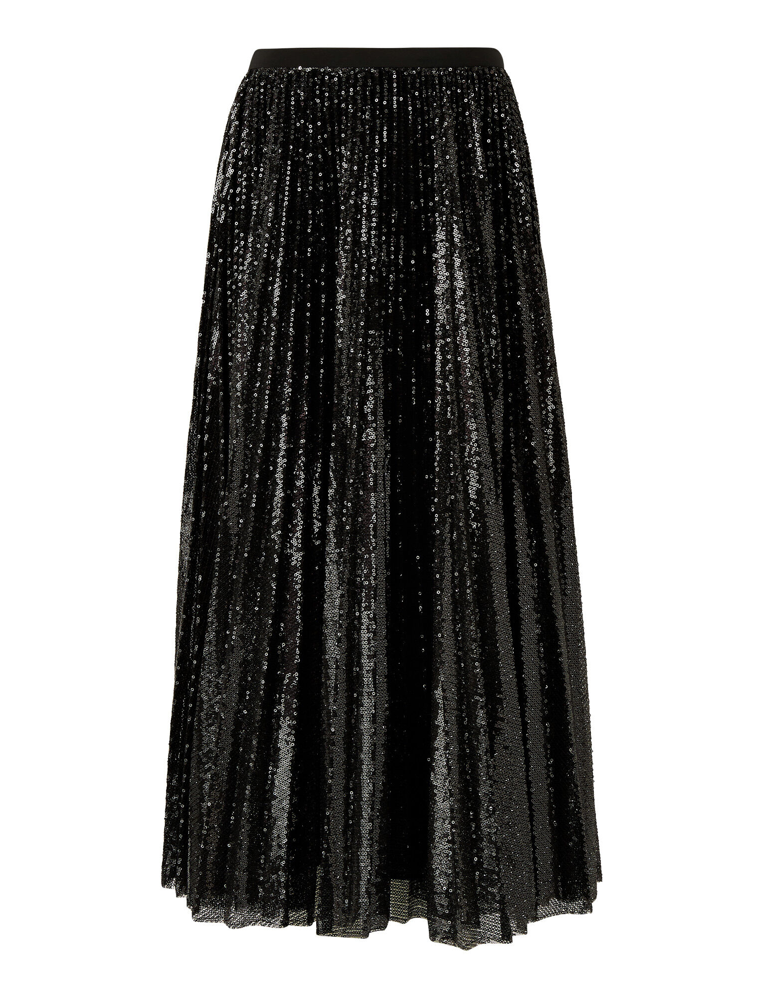 Joseph, Pleated Sequins Sparkle Skirt, in BLACK