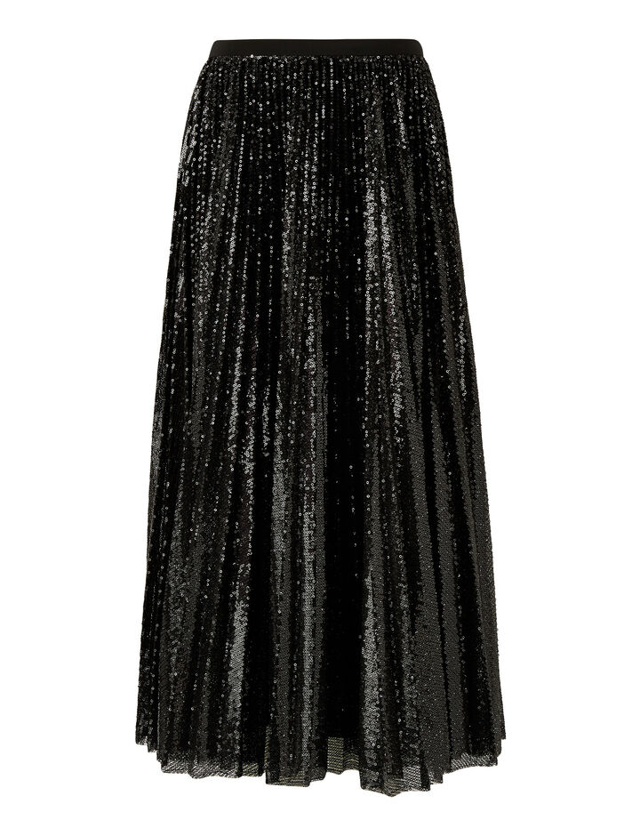 Joseph, Sparkle-Pleated Sequins, in BLACK