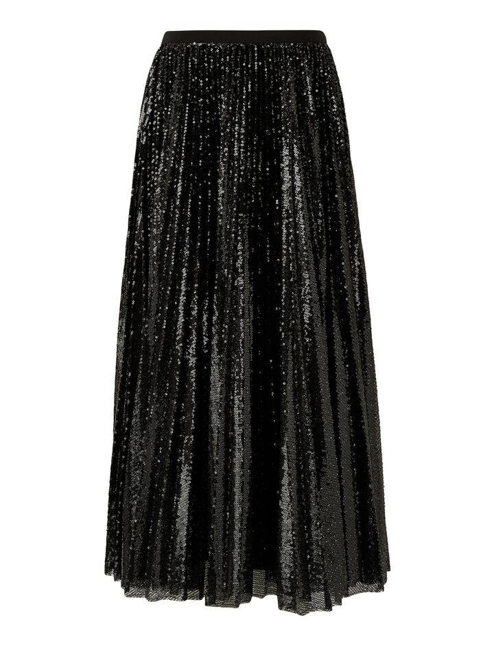 Joseph, Sparkle-Pleated Sequins, in BLACK