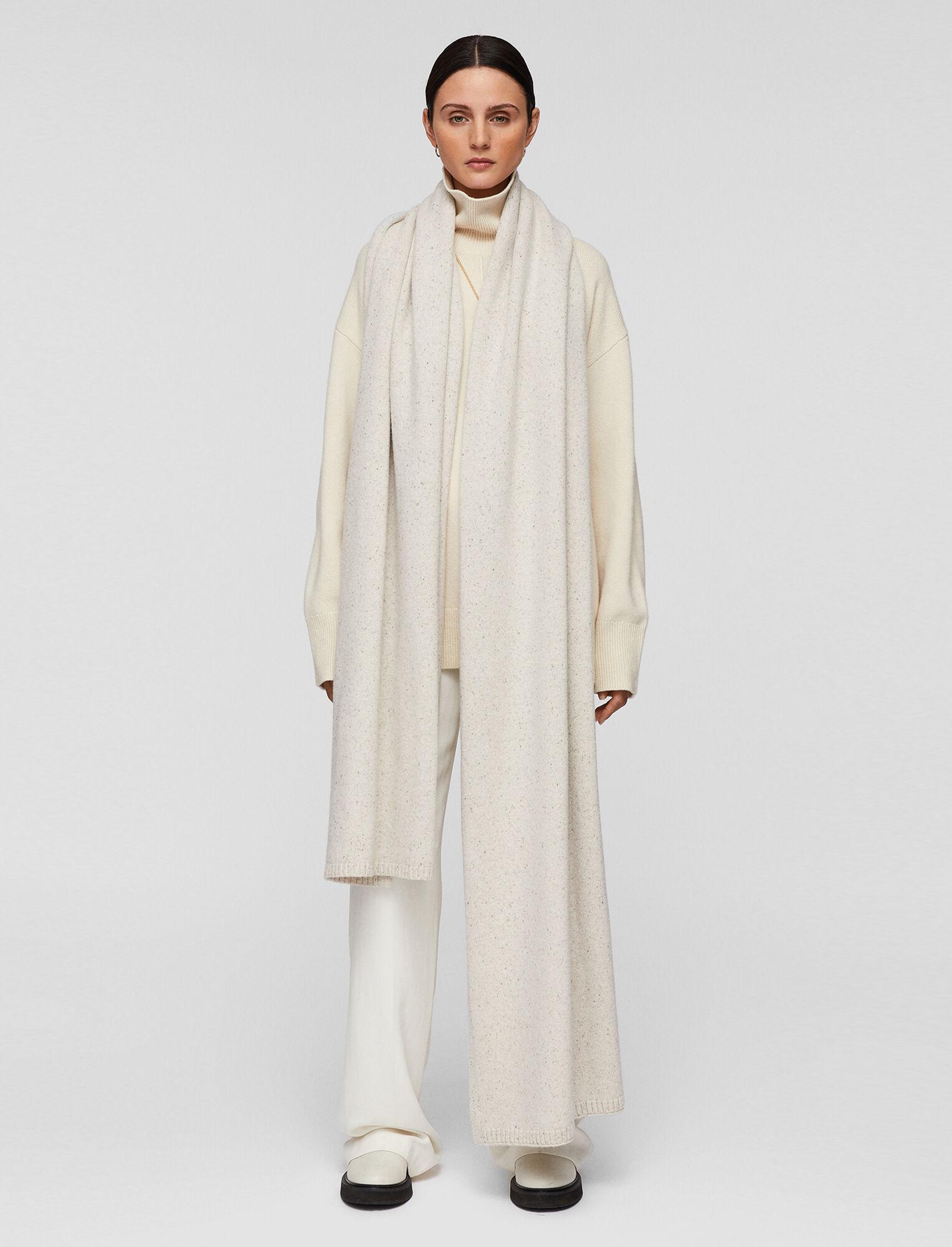 Joseph, Tweed Knit Plaid Scarf, in SANDSHELL