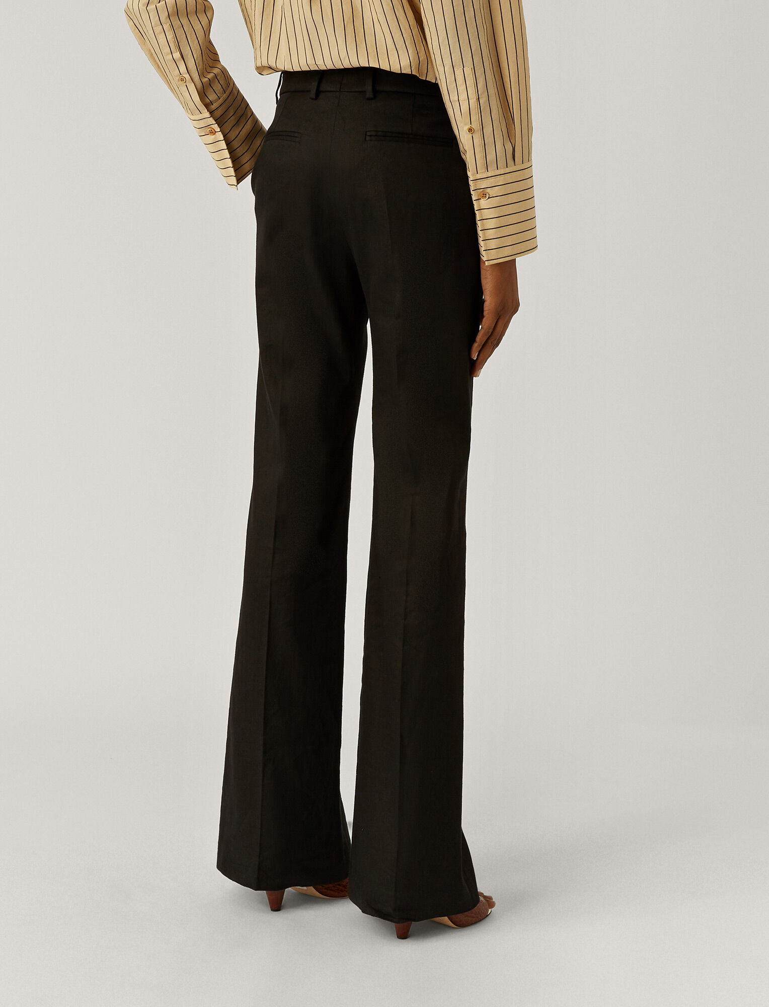 Joseph, Morissey Stretch Linen Trousers, in BLACK