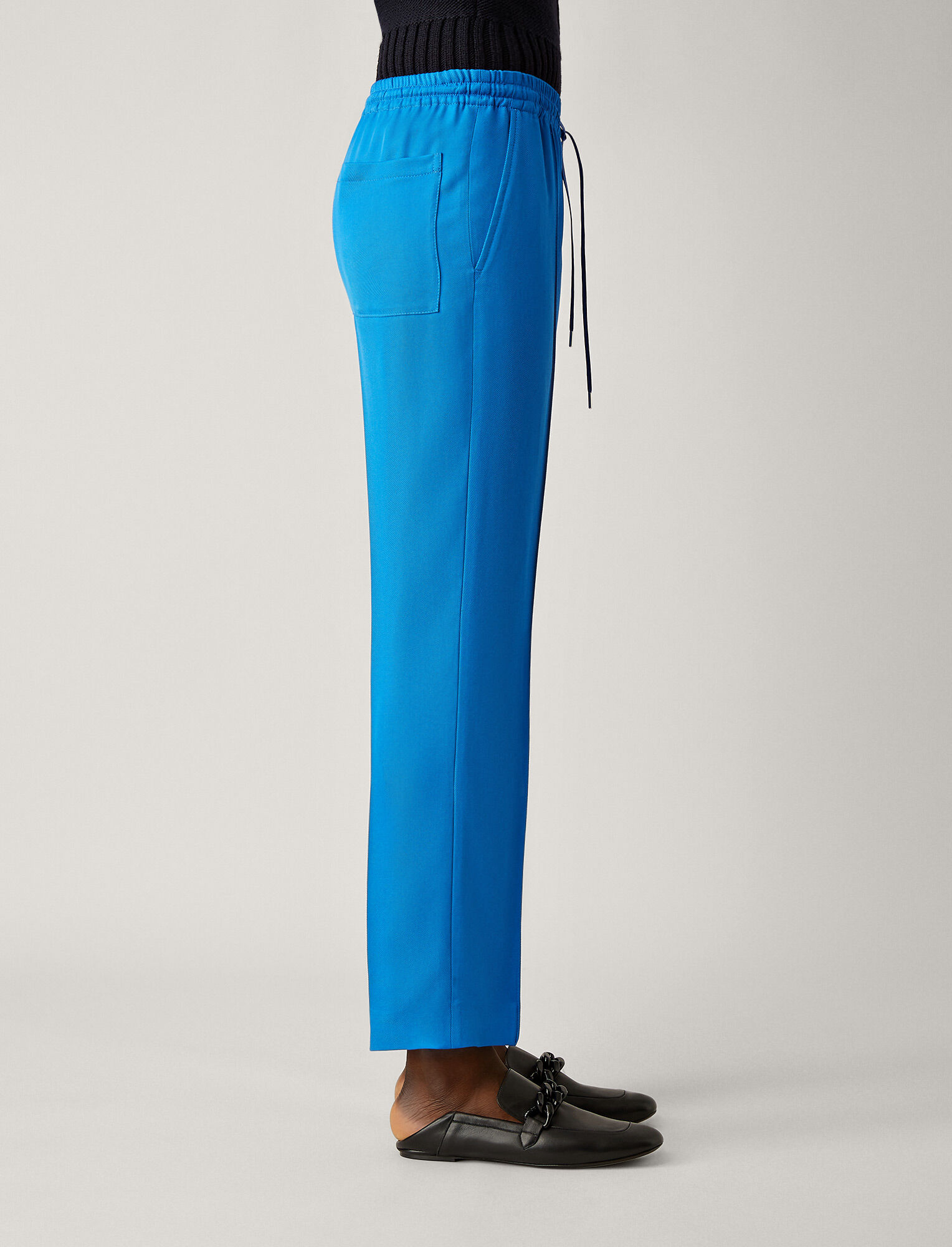 Joseph, Dino Liquid Twill Trousers, in PLASTIC BLUE