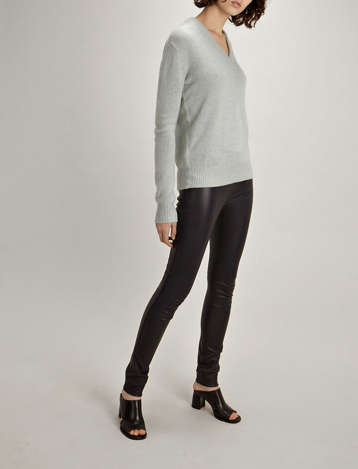 Joseph, Open Cashmere V Neck Sweater, in WATERGREEN