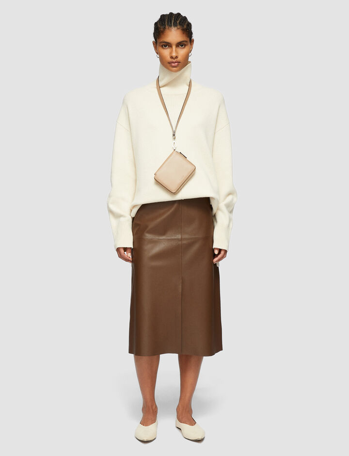 Joseph, Nappa Leather Sidena Skirt, in TAUPE