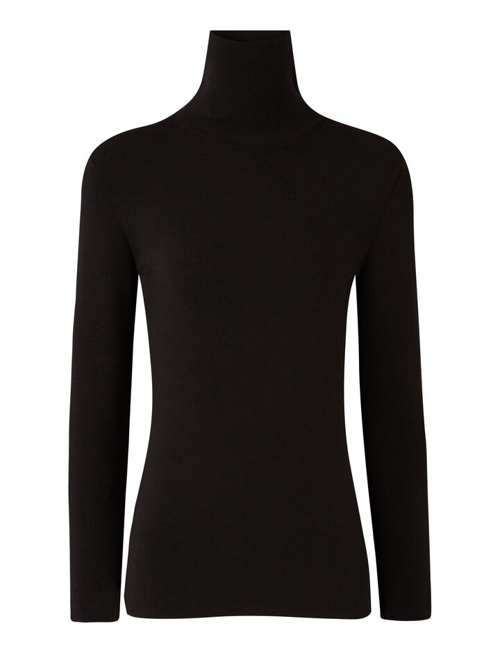Joseph, Turtle Nk Ls Silk Stretch Knitwear, in Black