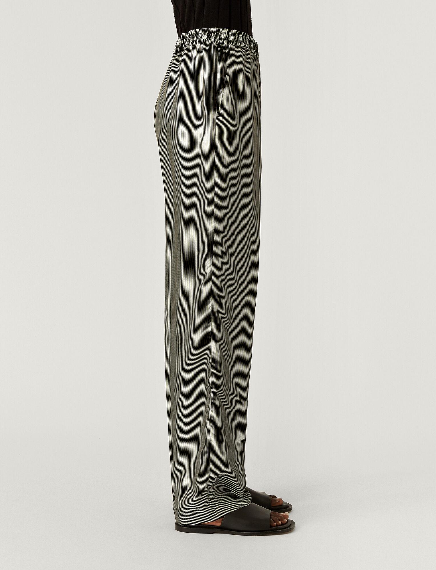 Joseph, Stripe Print Tillion Trousers, in BLACK/PORCELAIN