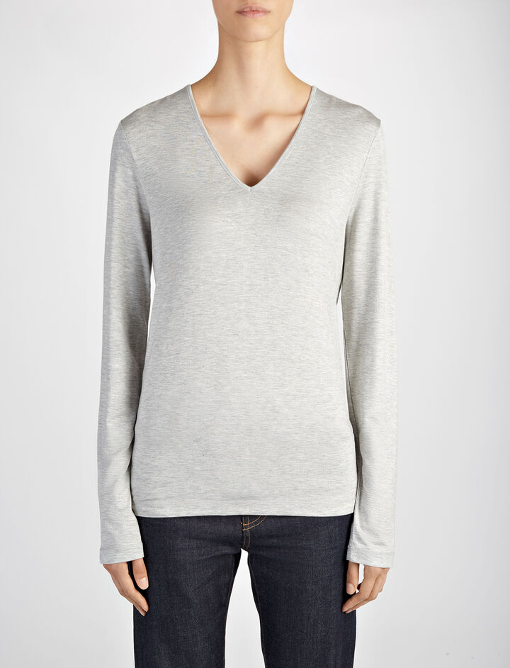 Joseph, Stretch Jersey Deep V Neck Top, in CONCRETE