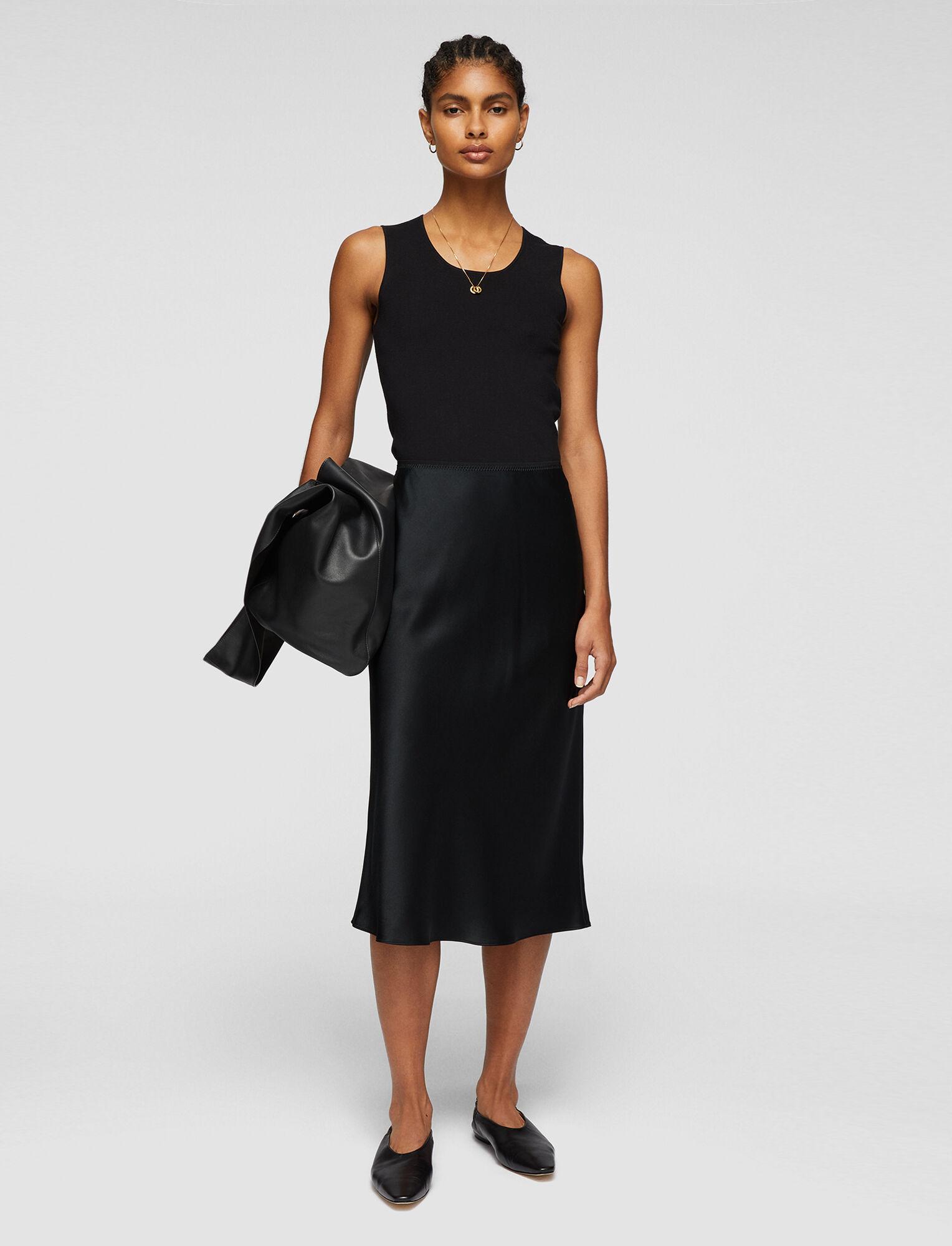 Joseph, Silk Satin Isaak Skirt, in BLACK