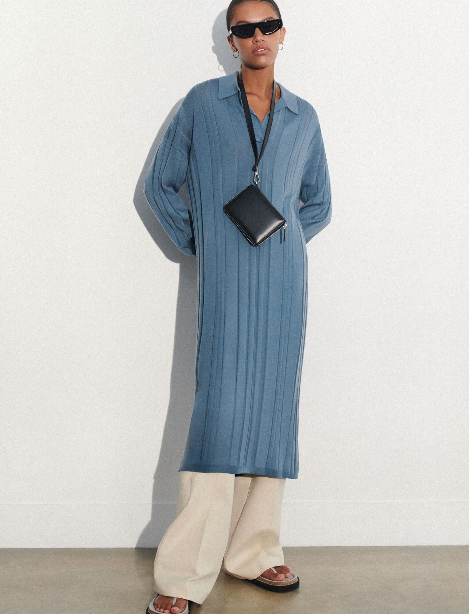 Joseph, Fine Merinos Oversized Dress, in BLUE STEEL