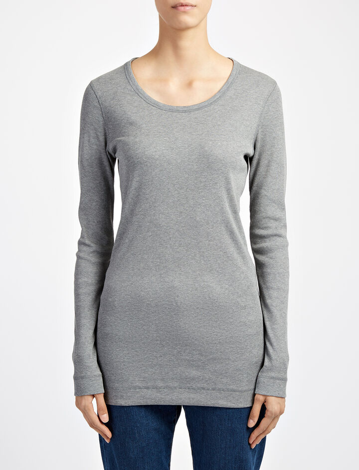 Joseph, Cotton Rib Open Neck Tee, in CONCRETE