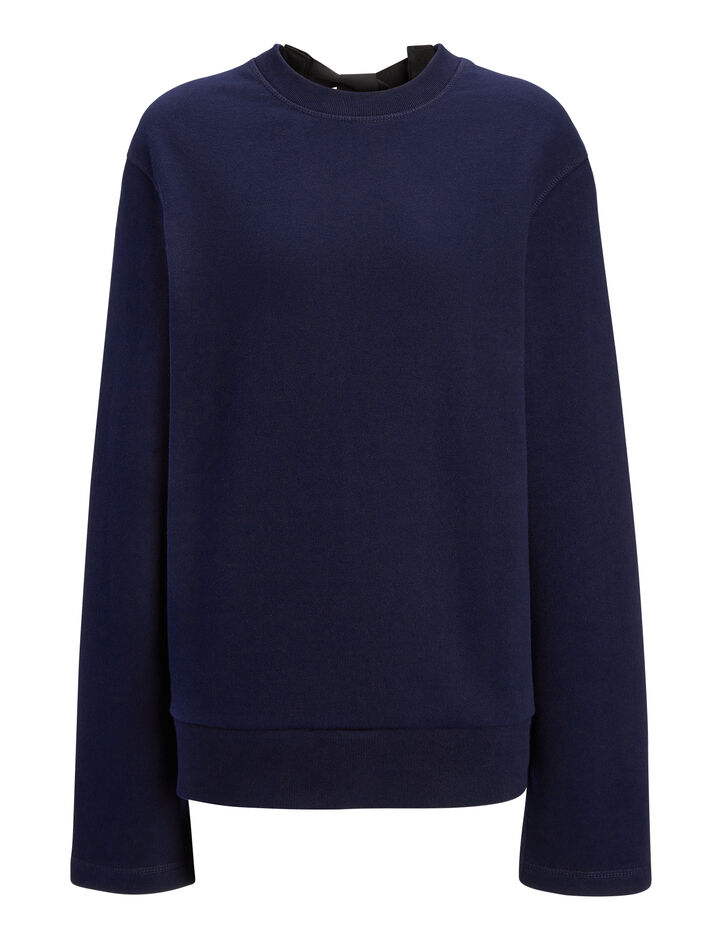 Joseph, Loop Back Knot Sweater, in MARINE