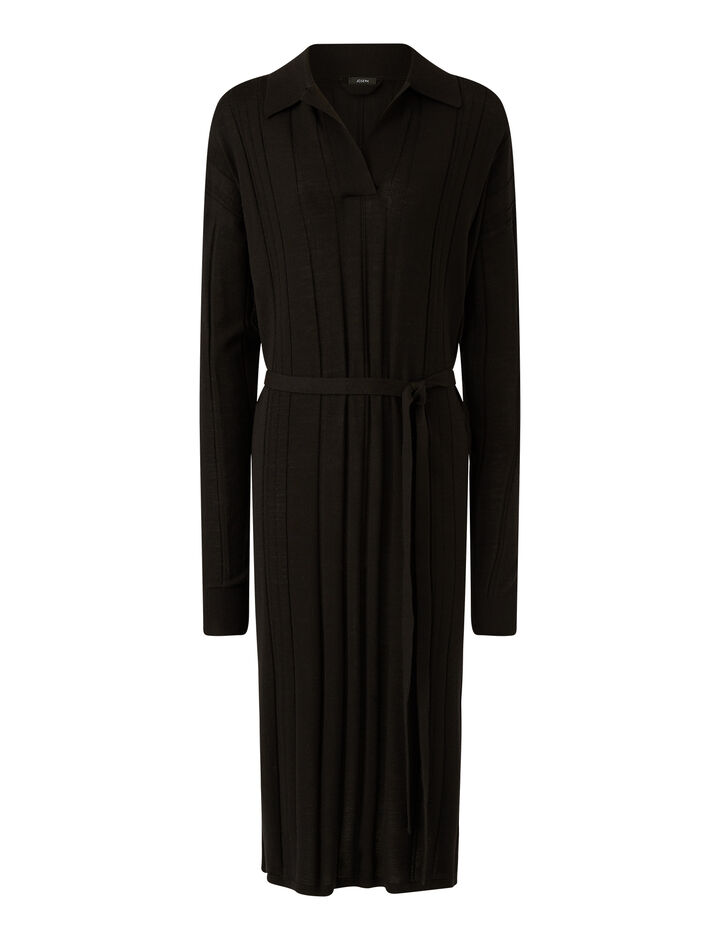 Joseph, O'size Dress-Fine Merinos, in BLACK