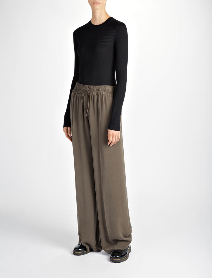 Joseph, Wool Silk Cashmere Rib Top, in BLACK