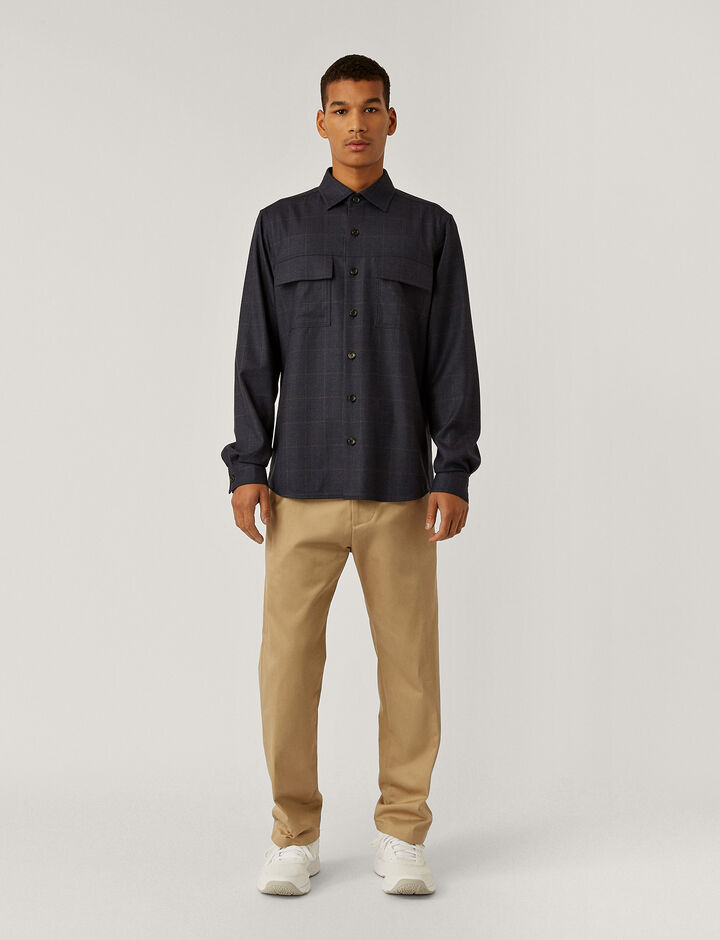 Joseph, Flannel Stretch Shirt, in NAVY