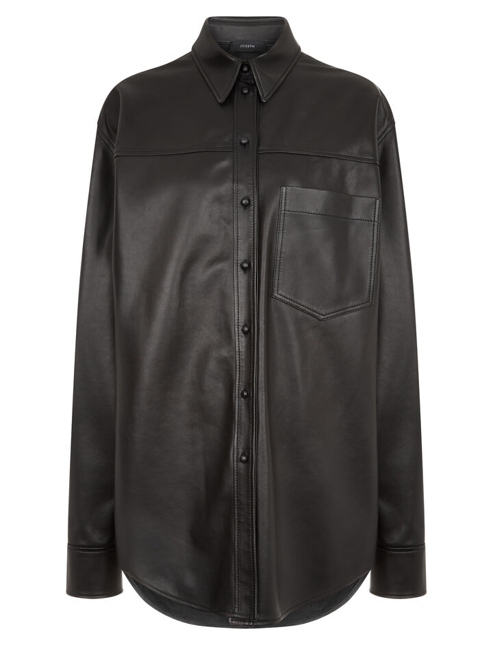 Joseph, Gibson Nappa Leather Shirt, in BLACK