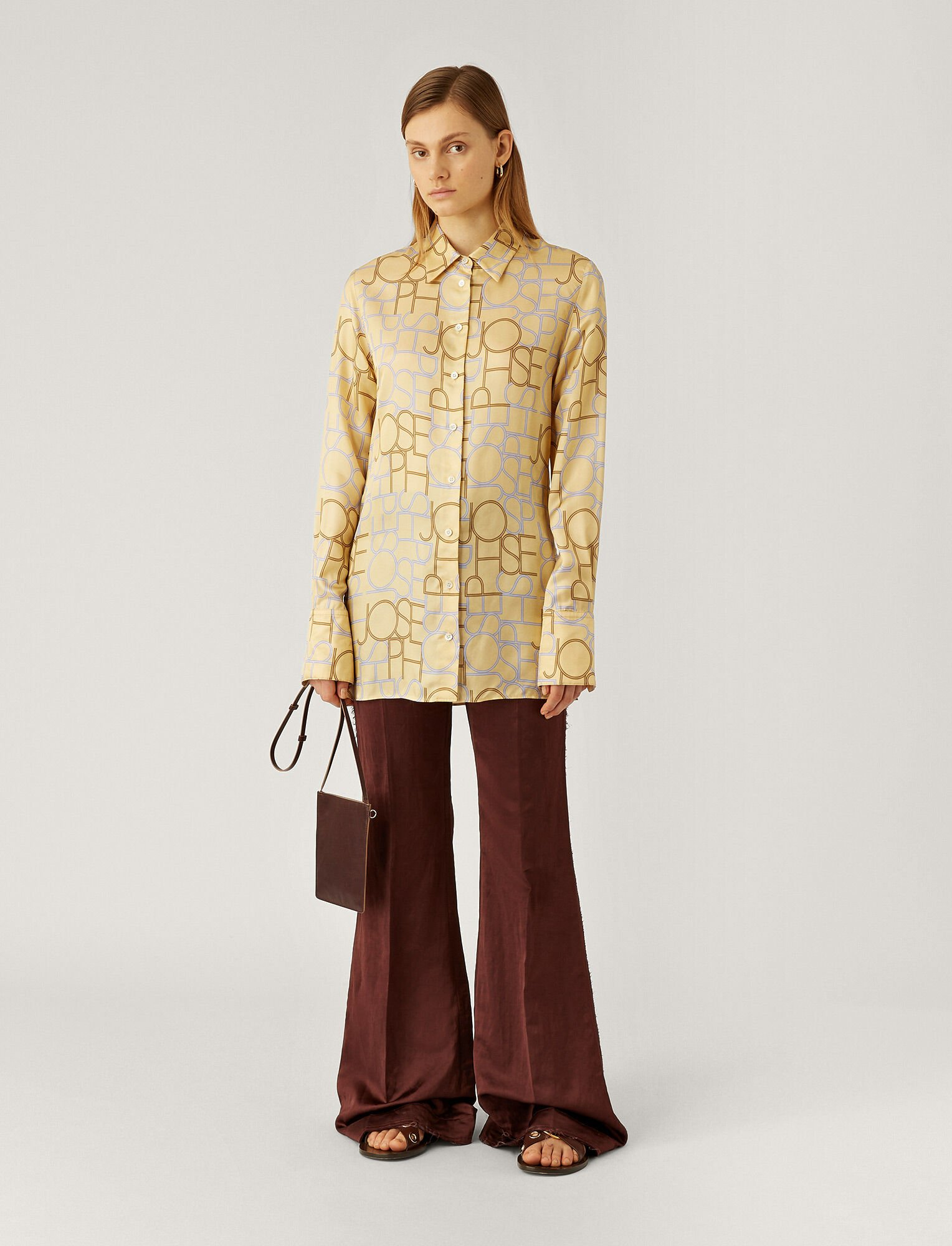Joseph, Beatrice Viscose Small Logo Blouse, in BANANA