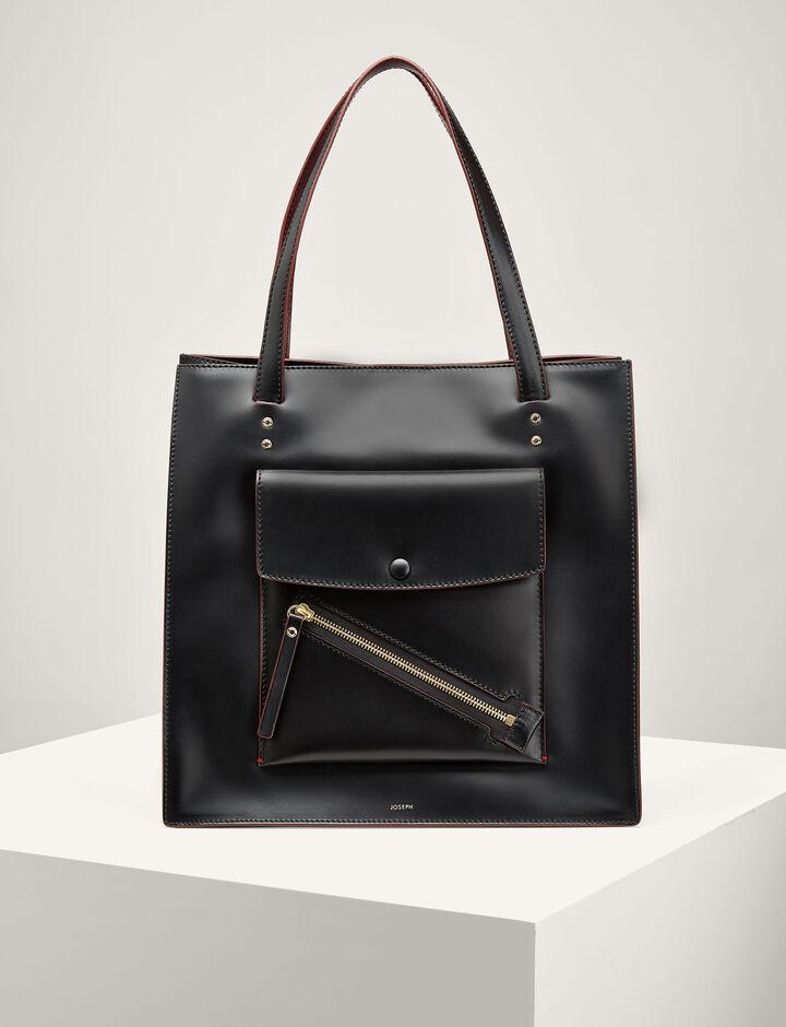 Joseph, Leather Portobello Bag, in BLACK