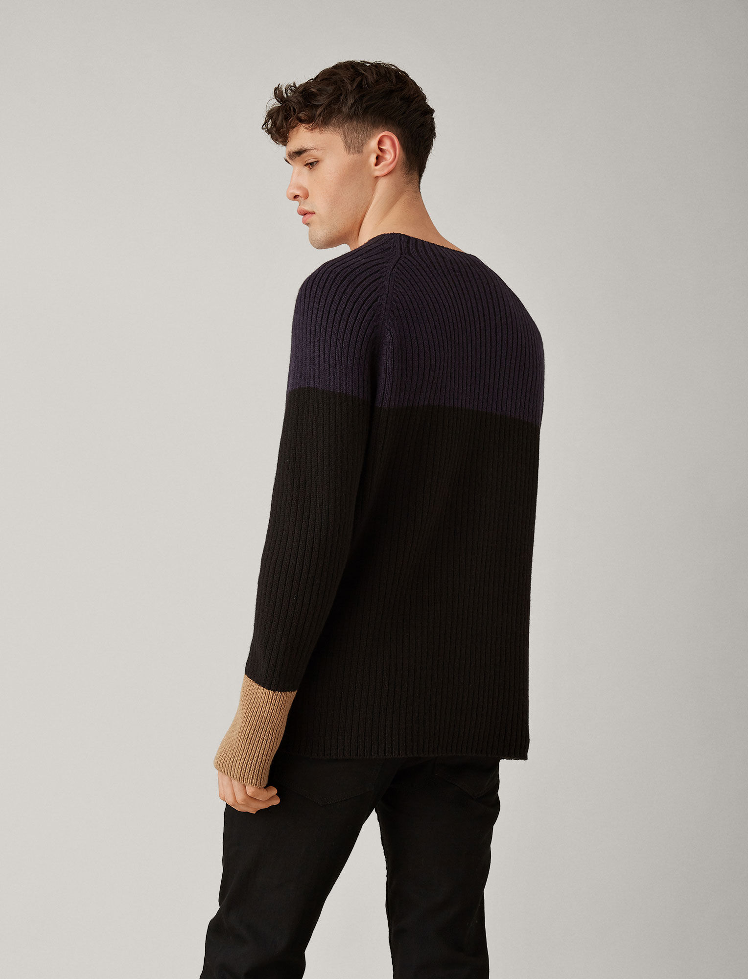 Joseph, Soft Wool Block Knit, in NAVY COMBO