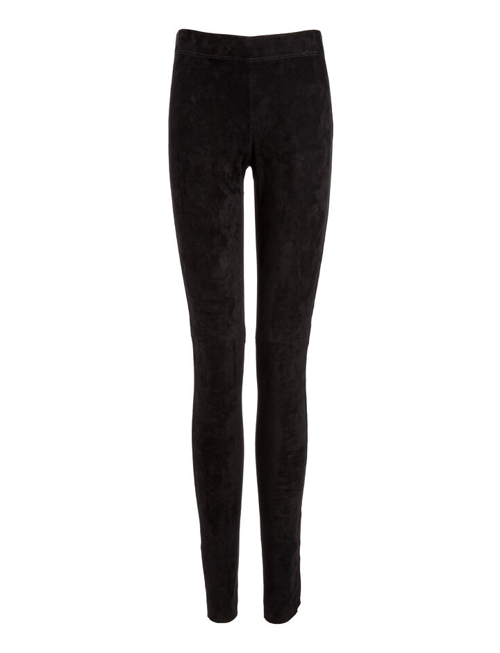 Joseph, Suede Stretch Legging Trousers, in BLACK