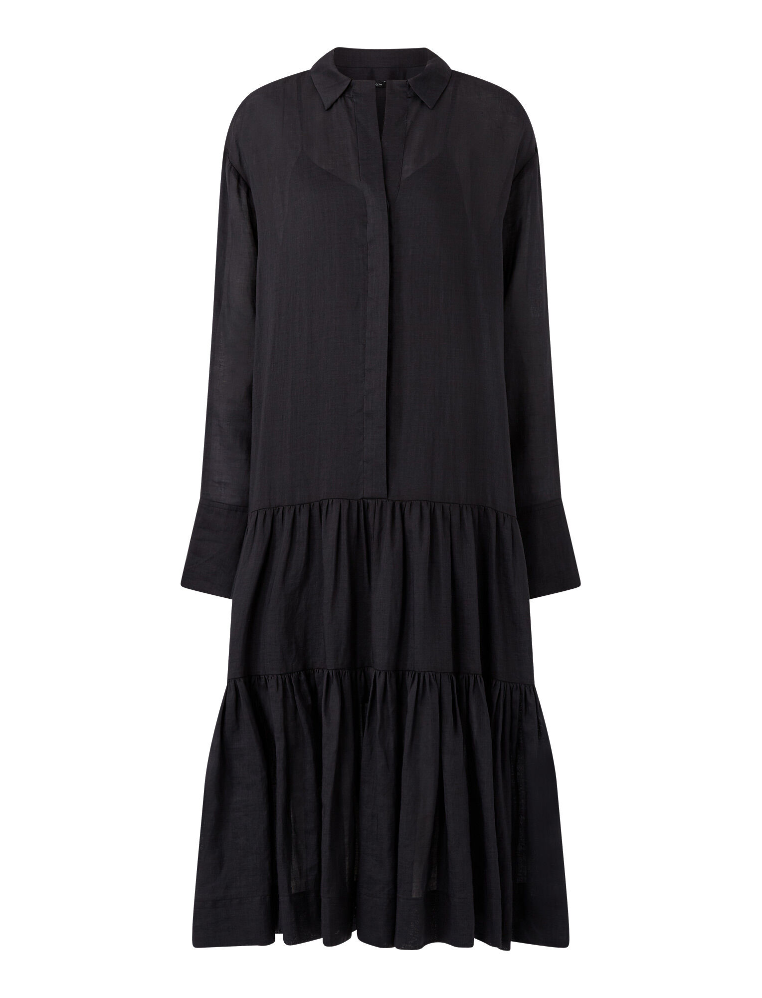 Joseph, Ramie Voile Dan Dress, in BLACK