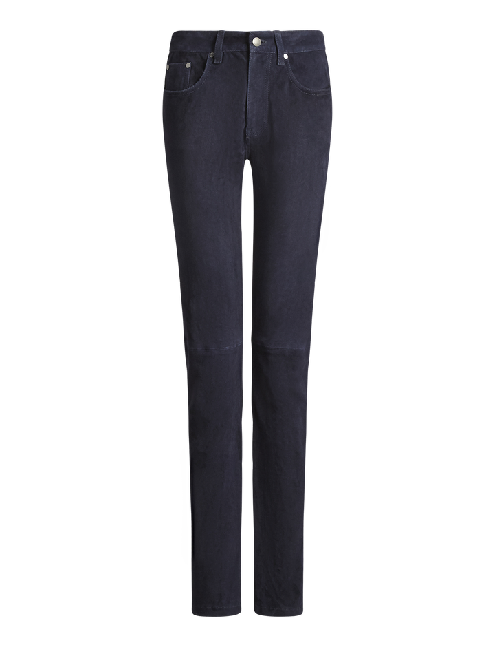 Joseph, Cloud Suede Stretch Leather Trousers, in NAVY